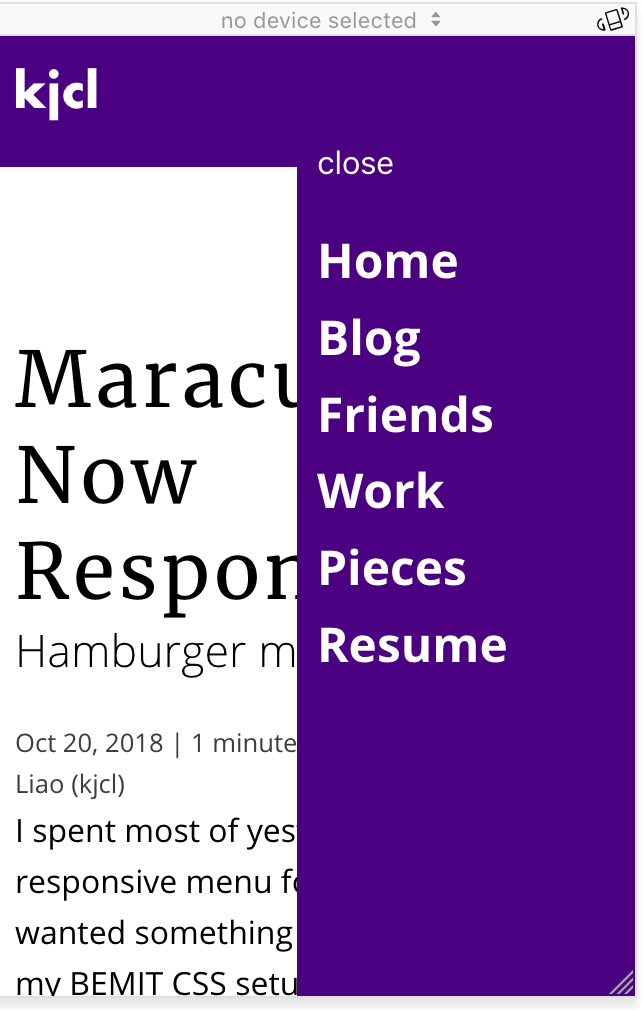 Hamburger Menu Sliding In